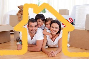 family of four sitting under the outline of a house