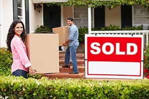 First time homebuyers moving into their new home