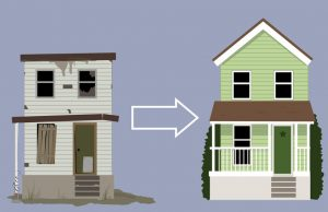 vector image showing the transformation of a fixer upper