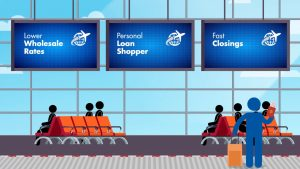 graphic of an airport terminal with benefits of working with mortgage brokers listed on the arrival and departure screens